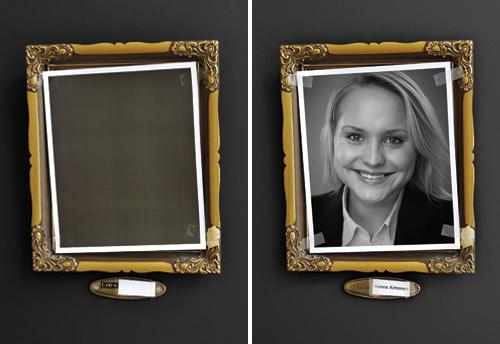 Porträttfotografering och fotografering av tavelram för senare montage i Photoshop.