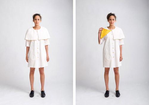 Fotografering av vita kläder mot vit bakgrund i fotostudio