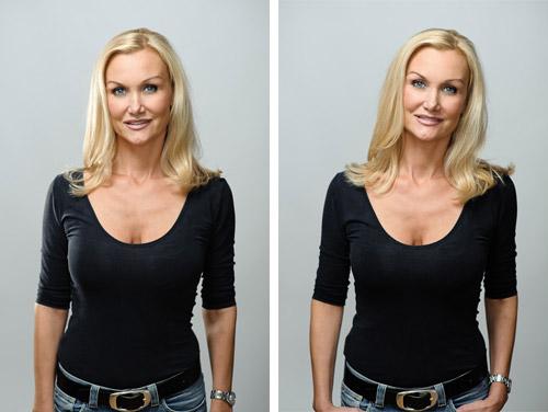 jämförelse studioporträtt med och utan hårljus och kantljus