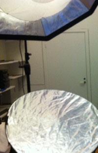 Profoto Softbox Octa 150 cm och en rund silvrig reflexskärm