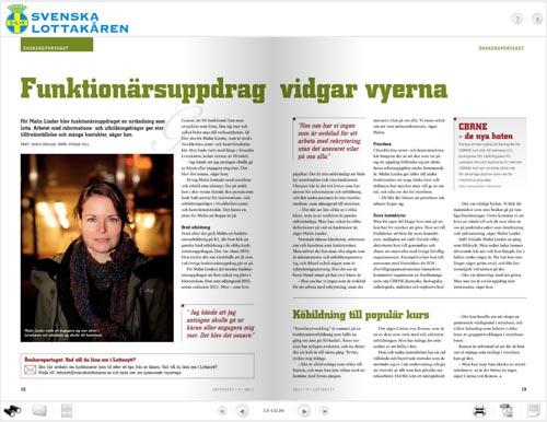 Tidningsuppslag, artikel i LottaNytt. Fotograf Stefan Tell