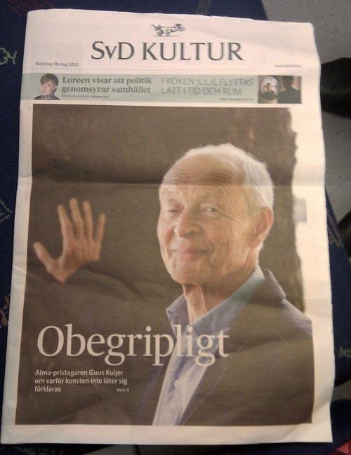 Guus Kuijer, SvD Kultur, förstasida. Fotograf Stefan Tell