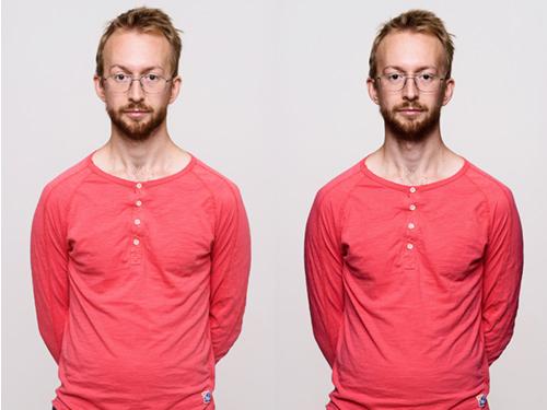 Porträtt med och utan flaggor efter retusch. Fotograf Stefan Tell