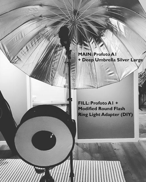 Profoto-A1-med-DIY-modifierad-ringblixt-adapter-Roundflash-Kaffebrus-portratt-ljussattning