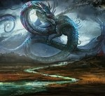 water dragons rain china legendary flags fantasy art artwork low resolution skies shaolin sea_www.wallmay.net_79