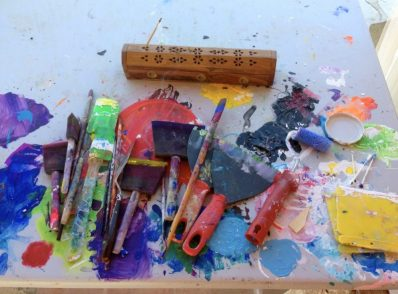 Mark making tools for intuitive process painting