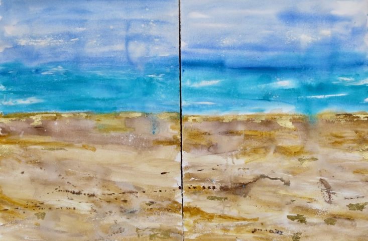 Semi Abstract Contemporary Seascape Diptych - watercolour on paper