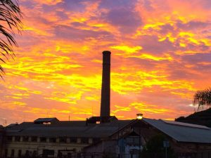 Sunset over the sugar factory