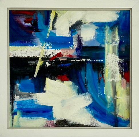 Original Available 'After the Storm/Despues la Tormenta Mixed media on canvas with deep white contemporary frame 90 x 90 cms