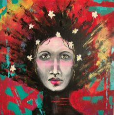 THE GIRL WITH WHITE DAISIES