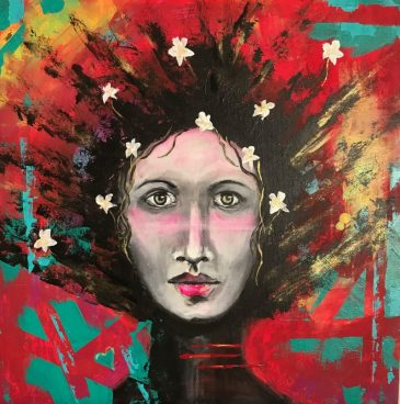 Original Available 'I AM ... Invincible' Mixed Media on Wooden Board with white frame 50 x 70 cms