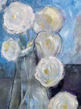 White rosesMixed Media on paper 50 x 60 cms