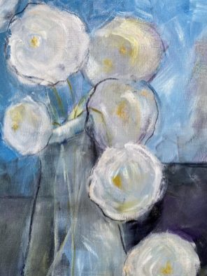 White Roses Mixed Media on paper 50 x 60 cms £450 without frame plus shipping