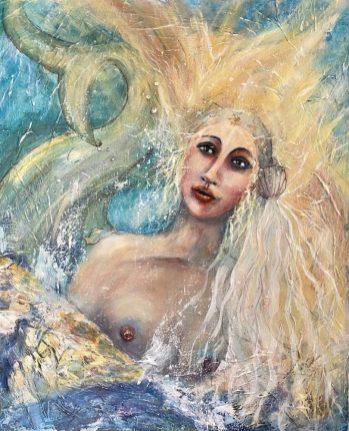 Original Available 'Ocean Goddess' Mixed Media on canvas