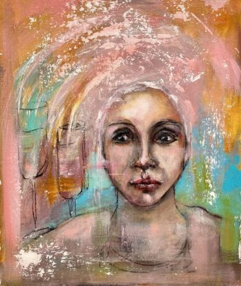 Original Avalable 'Pink Fizz' Mixed Media on canvas and board 48 x 56 cms