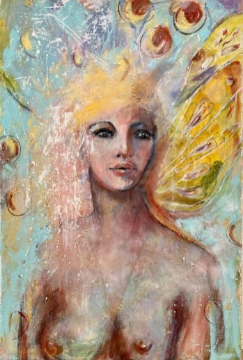 Original Available - 'Portrait of a Fairy' 60 x 90 cms Mixed Media on canvas