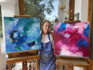 Abstracts in Blue and Pink
