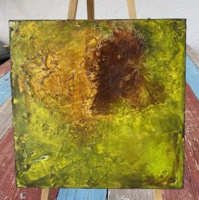 An autumn leaf mixed media encaustic wax painting
