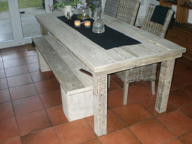 Steigerhouten tafel met bankje  SteigerhoutenMeubelshopnl