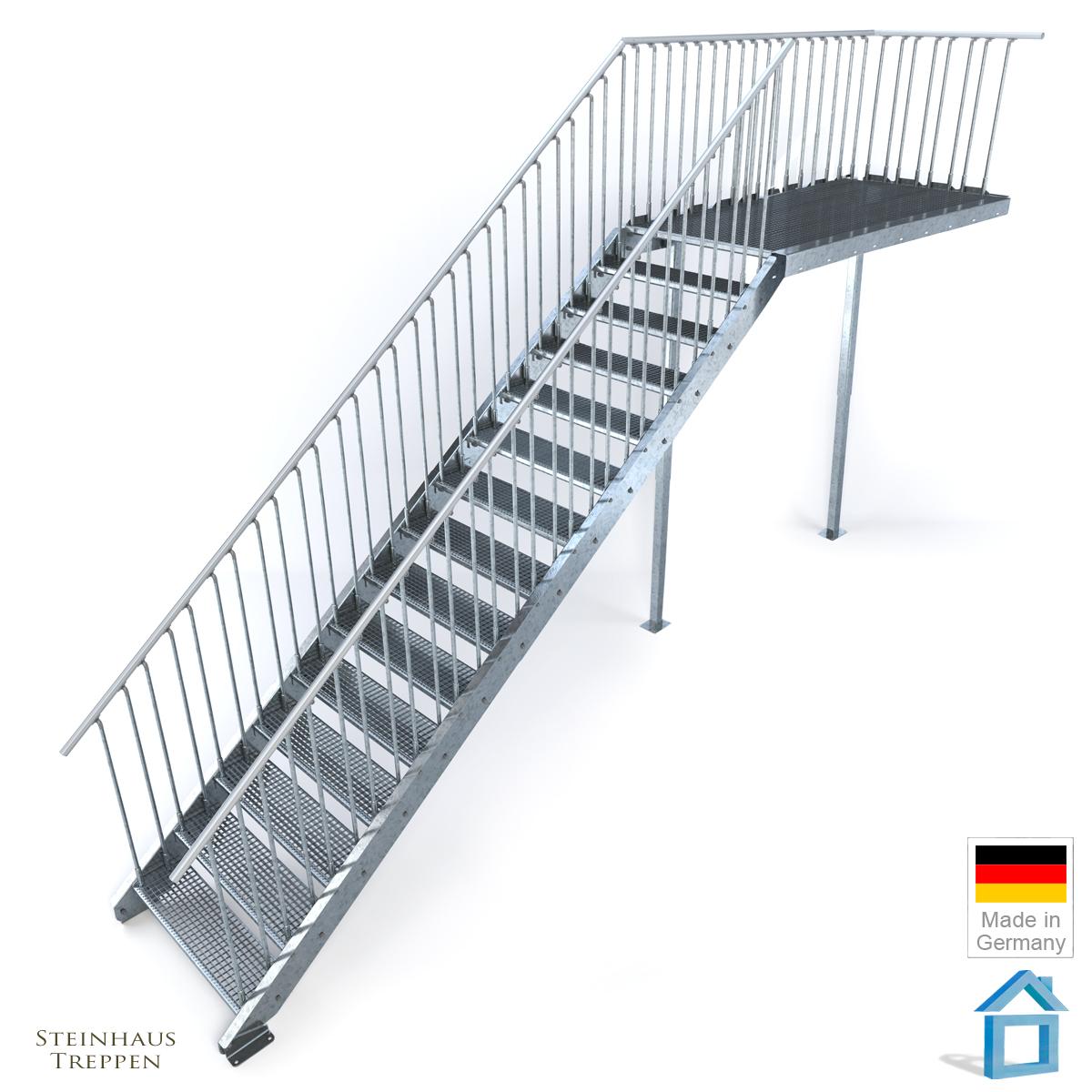 Außentreppe Stahl Mit 16 Steigungen 100 Cm Breite Und Podest 162 Cm