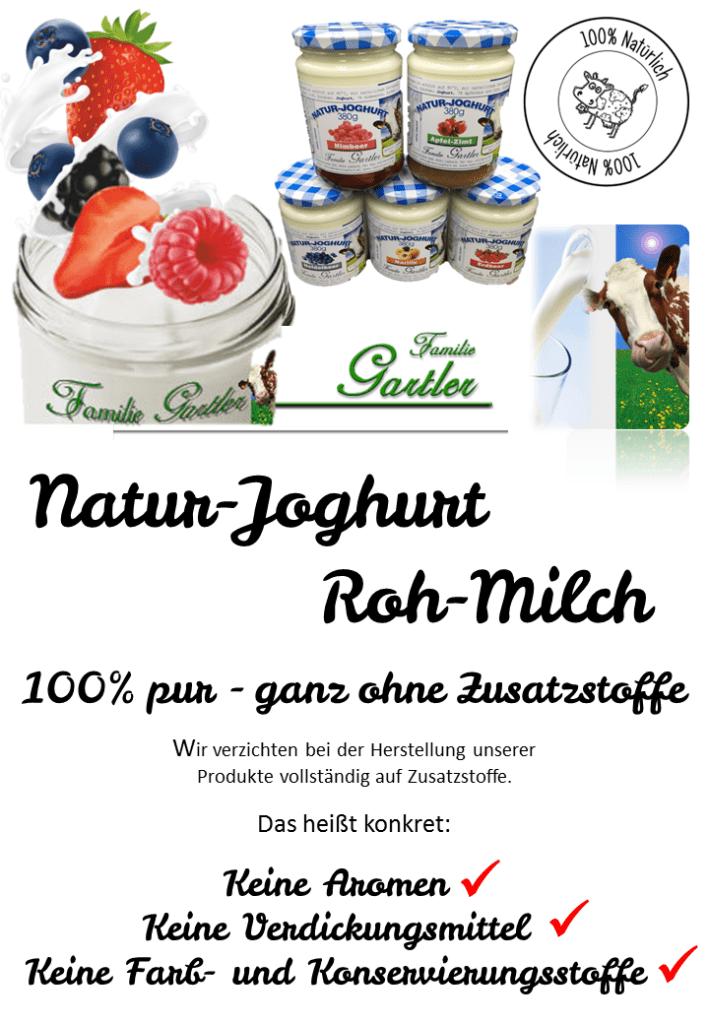 Natur Frucht Joghurt Bauernhof Gartler