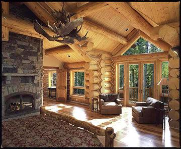 Interior de cabana - grinzi de brad Douglas