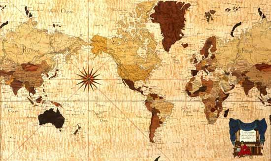 Harta lumii din furnir prin procedeul de incrustare (Marquetry)