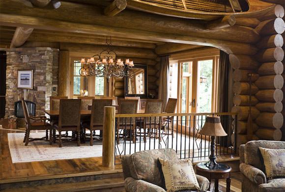Cabana de lemn, decoratiuni interioare rustice