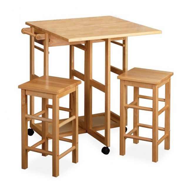 masuta plianta cu rotile si 2 scaune