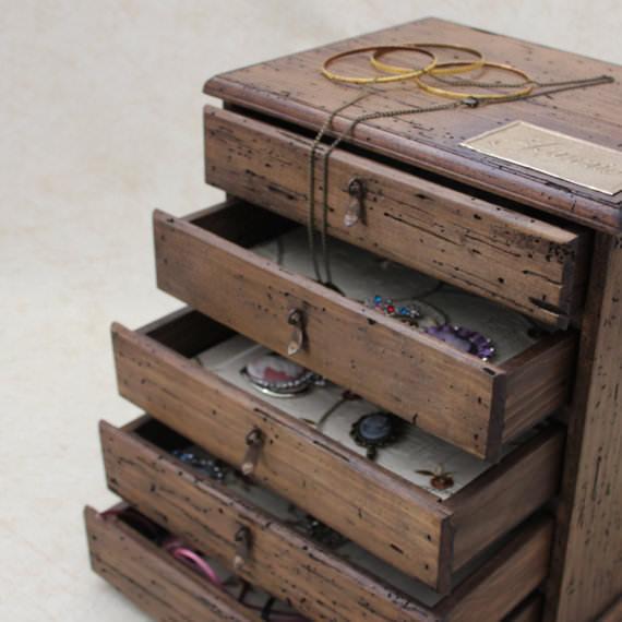 cutie de lemn - - casete de bijuterii