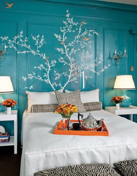 perete turcoaz - culori de vara
