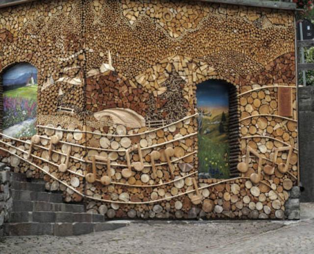 lemn de foc - Stive de lemne cu desen din forme și culori