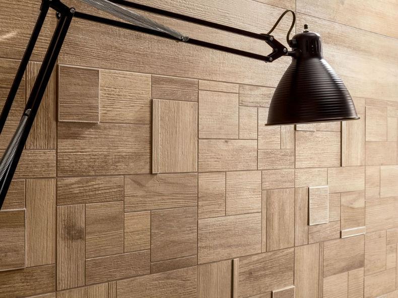 ceramica reliefata pentru perete cu aspect de lemn