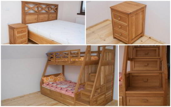 paturi din lemn masiv - matrimonial si pat etajat din stejar