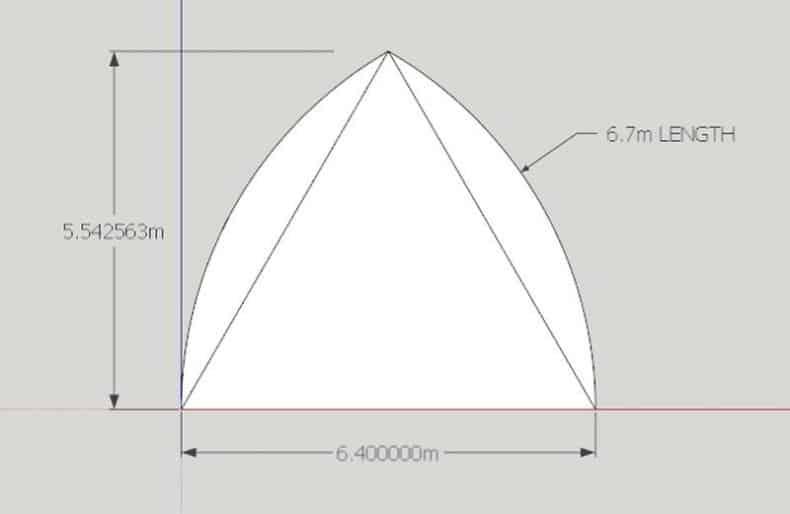 arce gotice pe triunghi echilateral