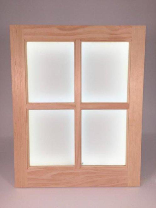 rama din lemn cu panouri LED