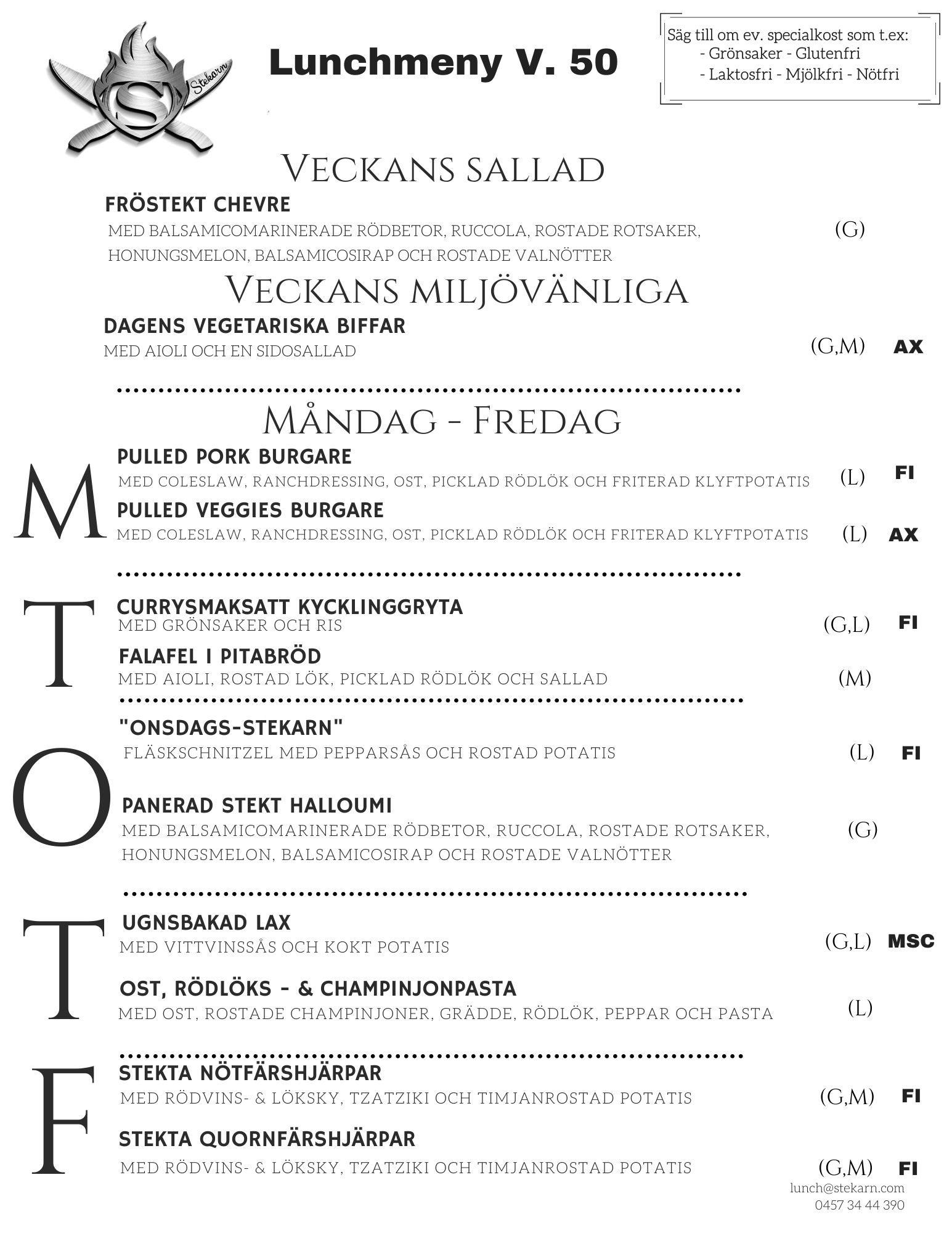 Stekarn lunchmeny vecka 50 Åland företagslunch Stekarn E-Meal Hämtmat www.emeal.ax