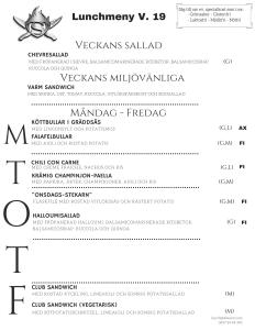 Stekarn lunchmeny vecka 19 Åland företagslunch Stekarn E-Meal Hämtmat www.emeal.ax