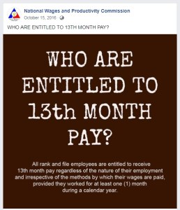 Who are entitled to 13th month pay