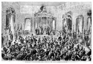 0139 - Incoronarea regelui Carol I in Palatul Regal din Bucuresti la 10 mai 1881 - gravura