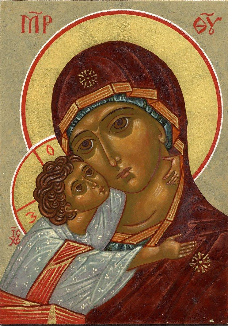 Icon of the Vladimir Mother of God, 2005, by the hand of Faye Drobnic