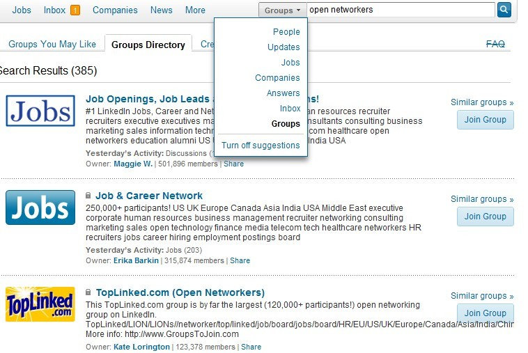 linkedin groups - how to find open networker group to join