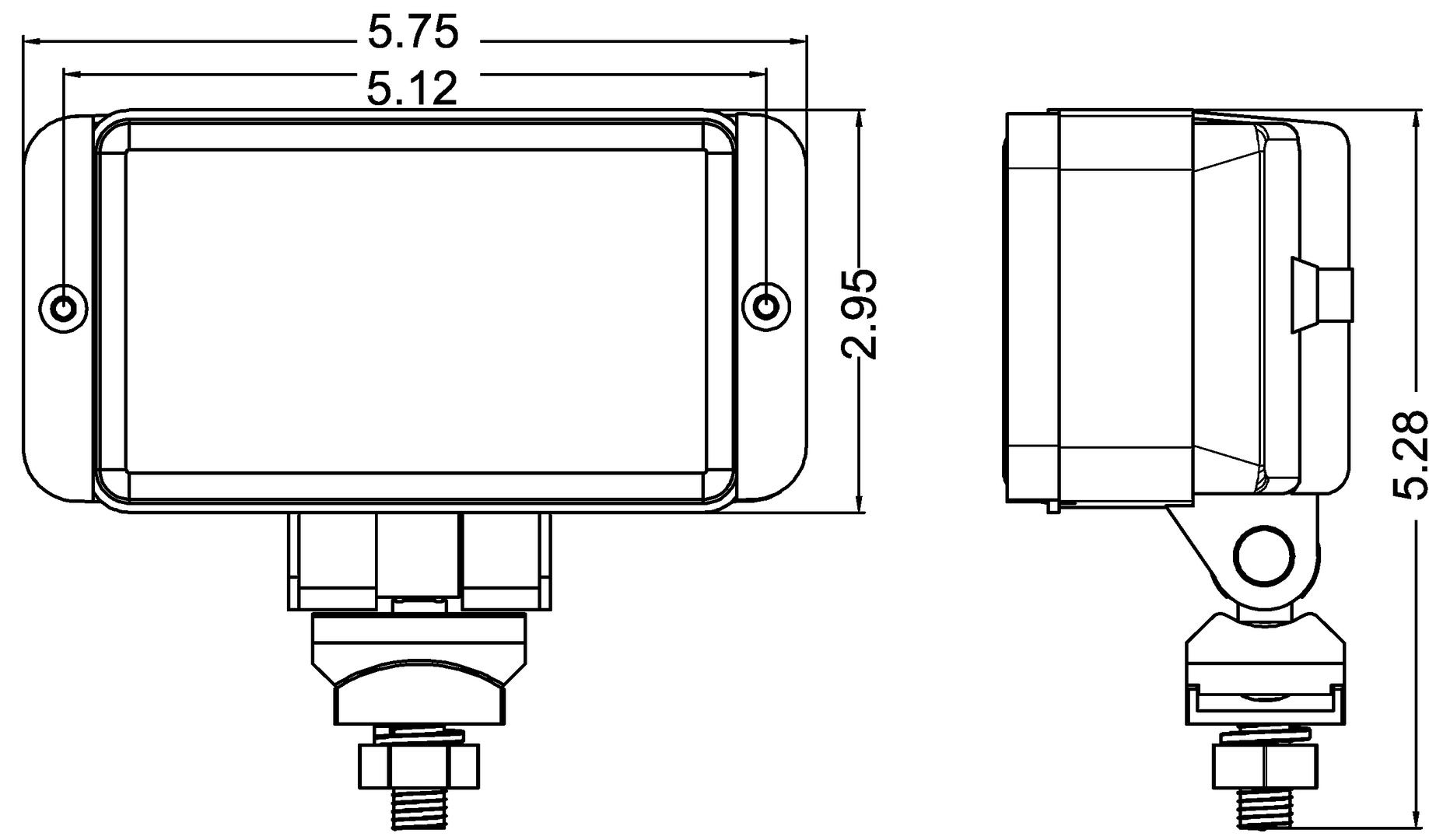 Rectangular Fog Lamp With 55 Watt Halogen Bulb