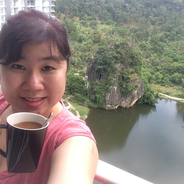 Having coffee while feasting on the best view in the world (in my totally biased opinion). At my resort home at The Haven Luxury Resort in Ipoh. Bliss!!!