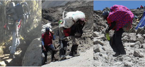Porters carrying heavy loads