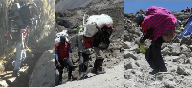Porters carrying heavy loads