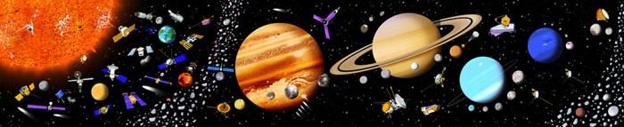 Le système solaire - Coffret livre et puzzle, illustration Peter Donnely- Éditions Usborne.