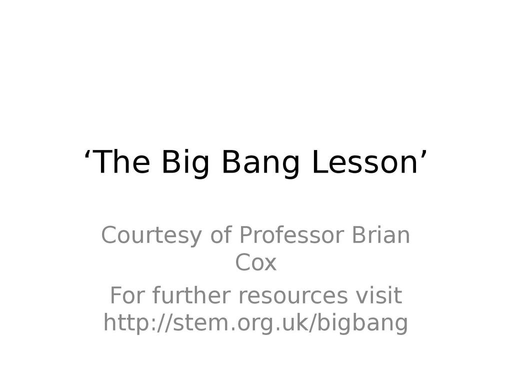hight resolution of The Big Bang Lesson *suitable for home teaching*   STEM
