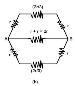 The circuit can bedrawn as shown in (a) in upper and lower