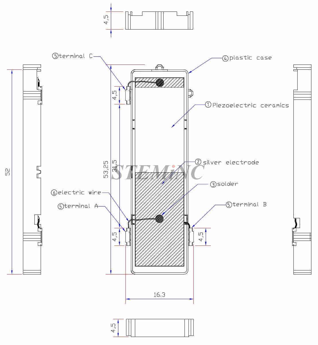 Single Layer Piezo Transformer 71 Khz 12w